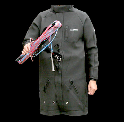neoprene coat with double zipper opening for harness hook